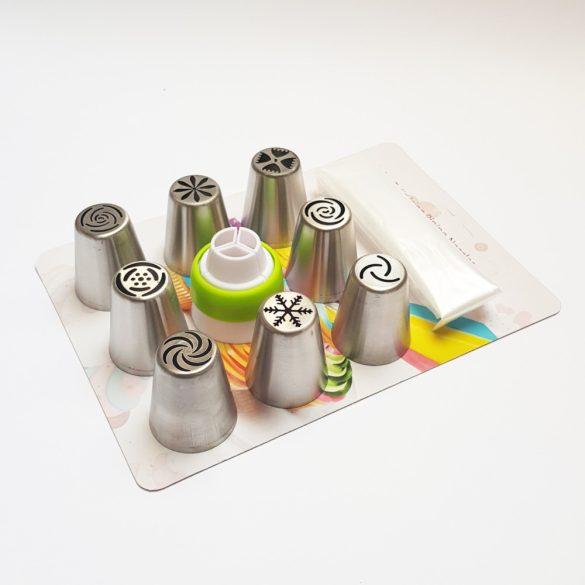 Orosz típusú díszítőcső szett - 8+1 részes fém szett + habzsák