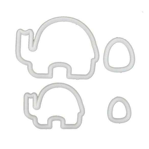 4 darabos műanyag süteménykiszúró, marcipán mintázó  - Elefánt