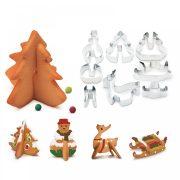 8 darabos 3D karácsonyi kiszúró készlet - Fenyőfa, hóember, szánkó és szarvas