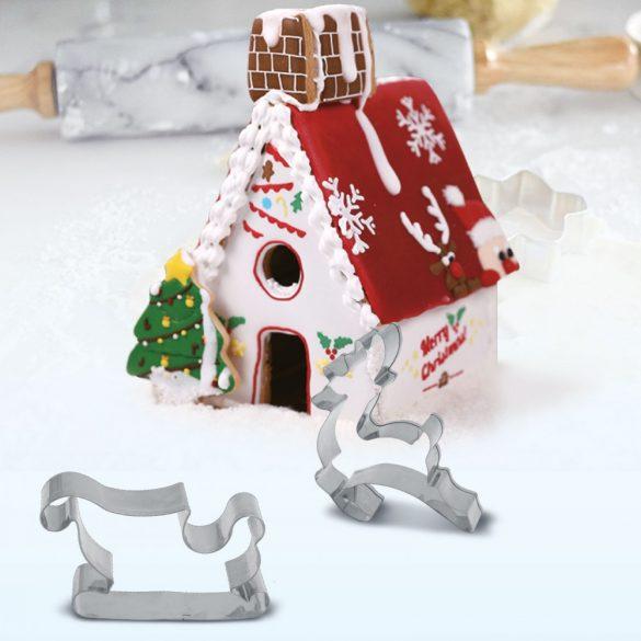 9 darabos 3D karácsonyi kiszúró készlet - Mézeskalács ház, szánkó és szarvas