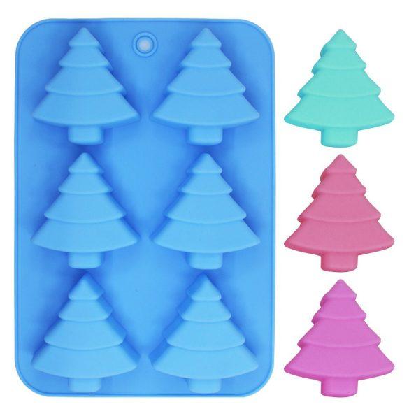 6 részes karácsonyfa, fenyőfa szilikon forma