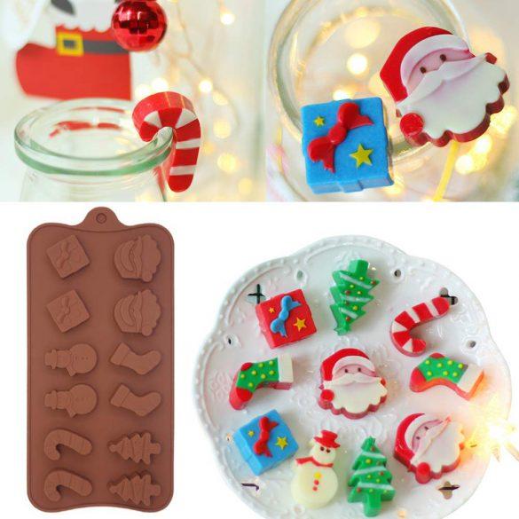 Karácsonyi szilikon bonbon forma - Karácsonyi kavalkád