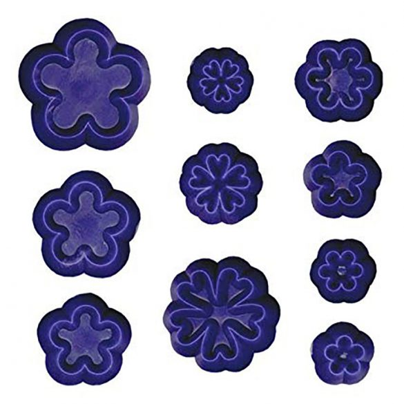 10 darabos virág fondant mintázó