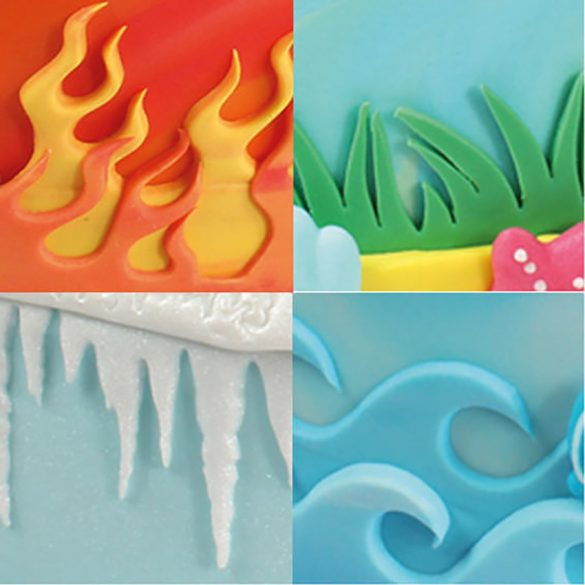 Fondant és marcipán mintázó - Tűz, víz, jég és fű
