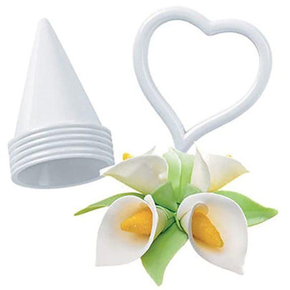 7 darabos fehér kála, tölcsérvirág kiszúró és mintázó