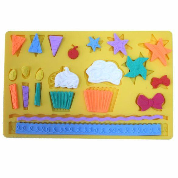Szilikon fondant és marcipán mintázó  -  Muffin, születésnap