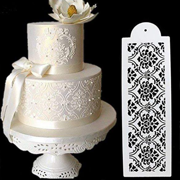 Torta sablon, stencil - Nonfiguratív virágok