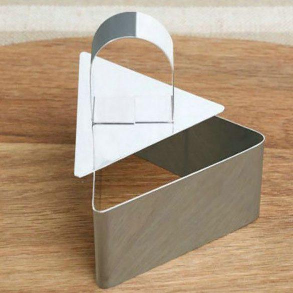 Háromszög alakú rozsdamentes ételformázó