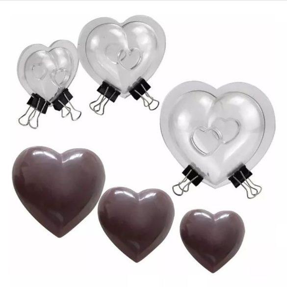 3D-s csokoládé öntőforma - Szívek