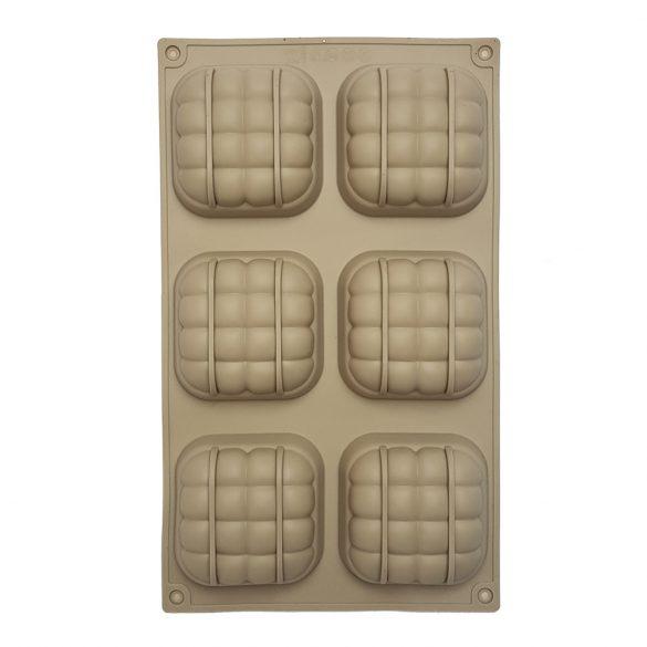 6 részes szilikon forma - Rácsos négyzet