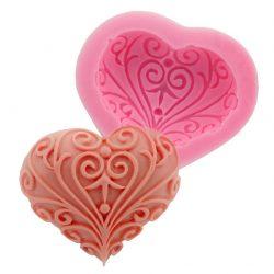 Szilikon fondant és marcipán mintázó - Mintás szív