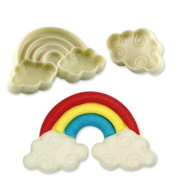 2 darabos fondant és marcipán mintázó - Szivárvány és felhők