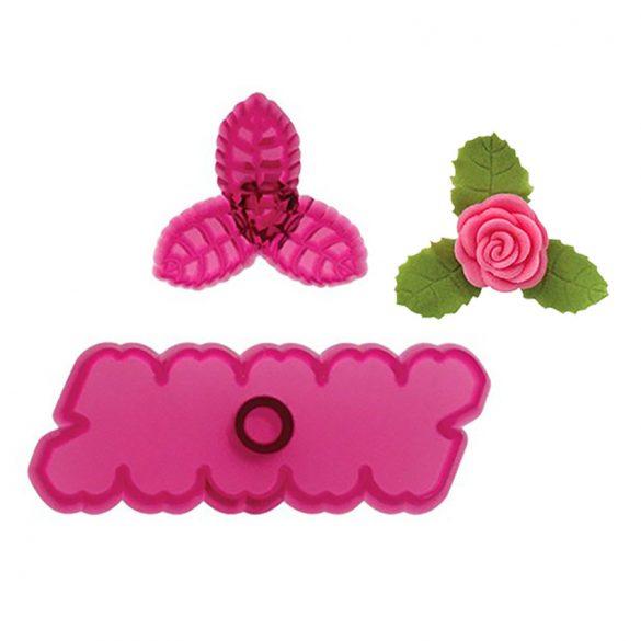 2 darabos fondant és marcipán mintázó - Rózsa levéllel