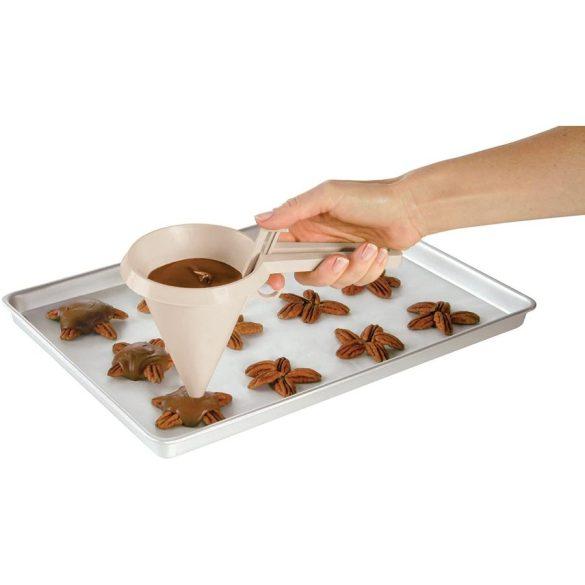 Műanyag tészta és csokoládé adagoló tölcsér
