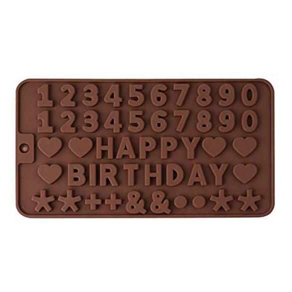 Szilikon forma, szilikon betű forma  -  Happy Birthday