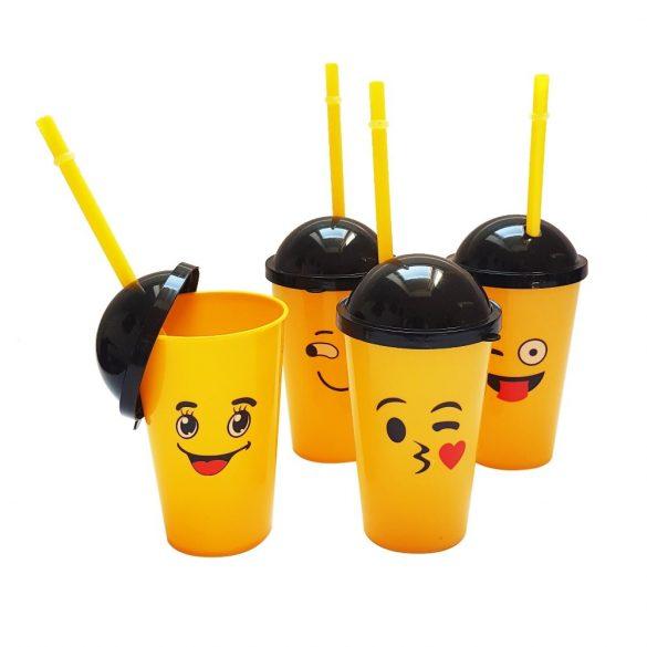 4 darabos műanyag szívószálas pohár, shake pohár - Emoji
