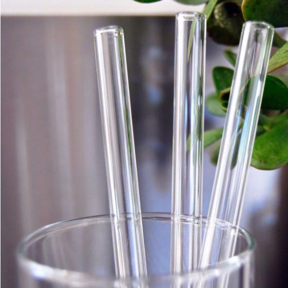 4 darabos üveg szívószál tisztítókefével