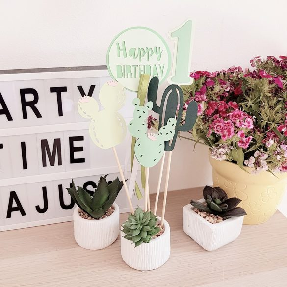 Torta beszúró, torta dekoráció - Happy Birthday kaktuszokkal