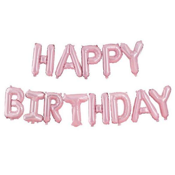 Happy Birthday feliratú fólia lufi – Rózsaszín