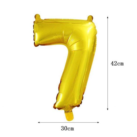 Arany színű szám fólia lufi - 7