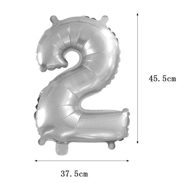 Ezüst színű szám fólia lufi – 2