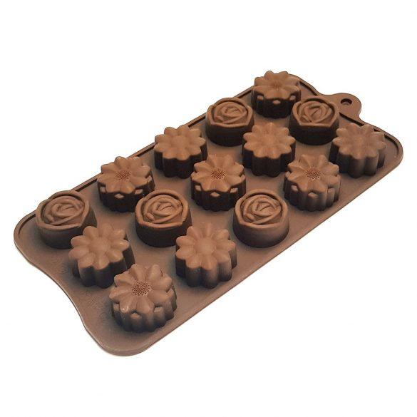 Szilikon bonbon forma – Virágok – Rózsa és gerbera