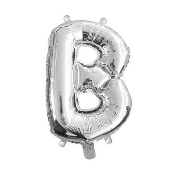 Ezüst színű, betű alakú fólia lufi, léggömb – B