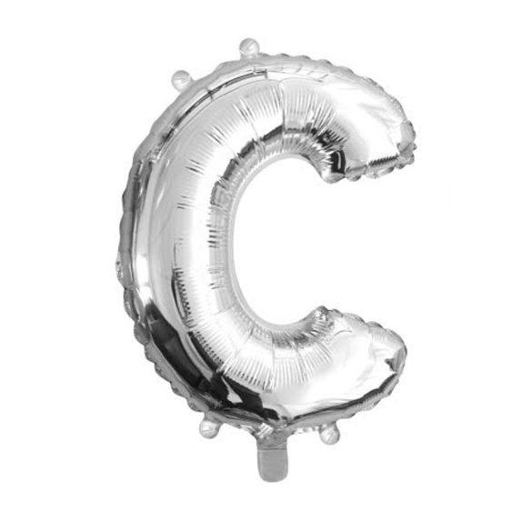 Ezüst színű, betű alakú fólia lufi, léggömb – C