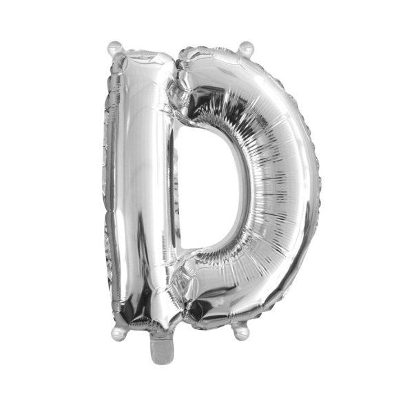 Ezüst színű, betű alakú fólia lufi, léggömb – D