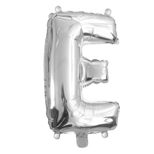 Ezüst színű, betű alakú fólia lufi, léggömb – E