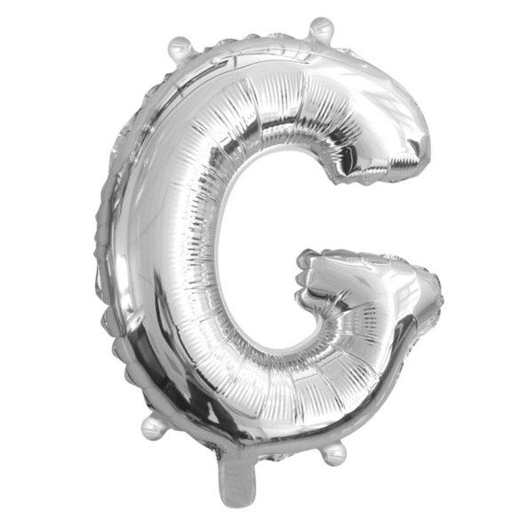 Ezüst színű, betű alakú fólia lufi, léggömb – G