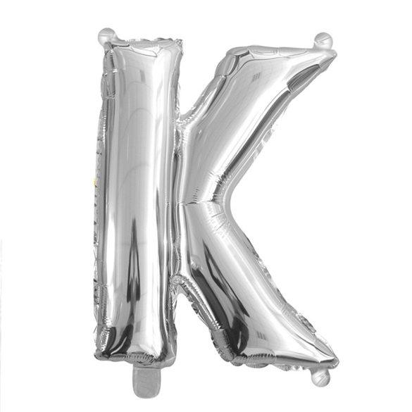 Ezüst színű, betű alakú fólia lufi, léggömb – K