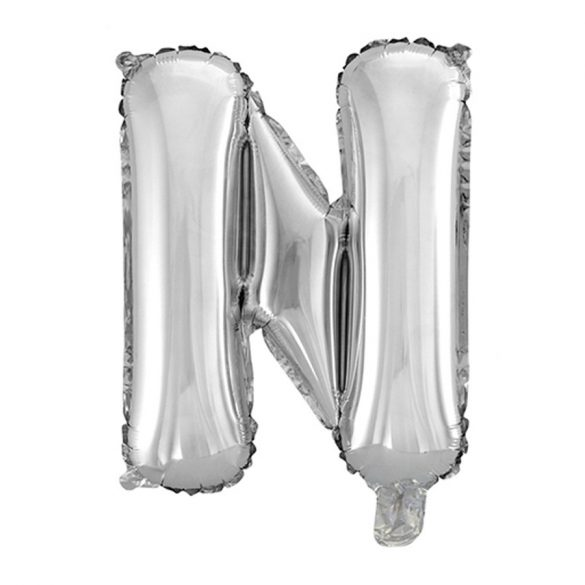 Ezüst színű, betű alakú fólia lufi, léggömb – N