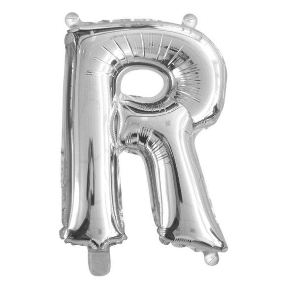 Ezüst színű, betű alakú fólia lufi, léggömb – R