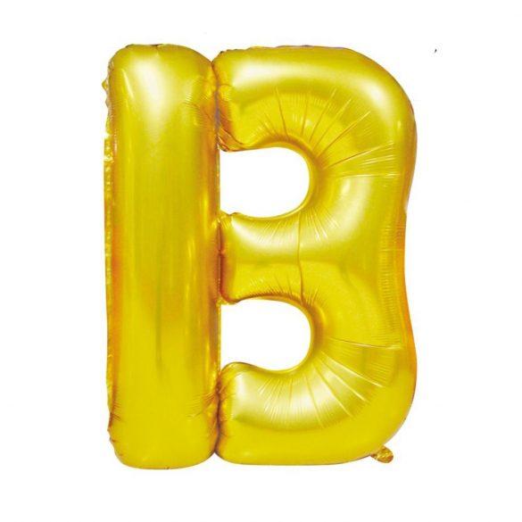 Arany színű, betű alakú fólia lufi, léggömb – B