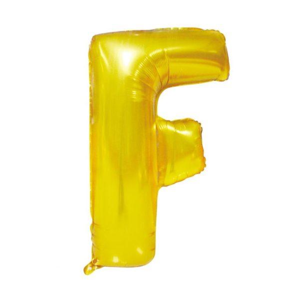 Arany színű, betű alakú fólia lufi, léggömb – F