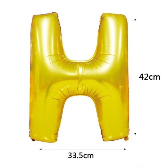 Arany színű, betű alakú fólia lufi, léggömb – H