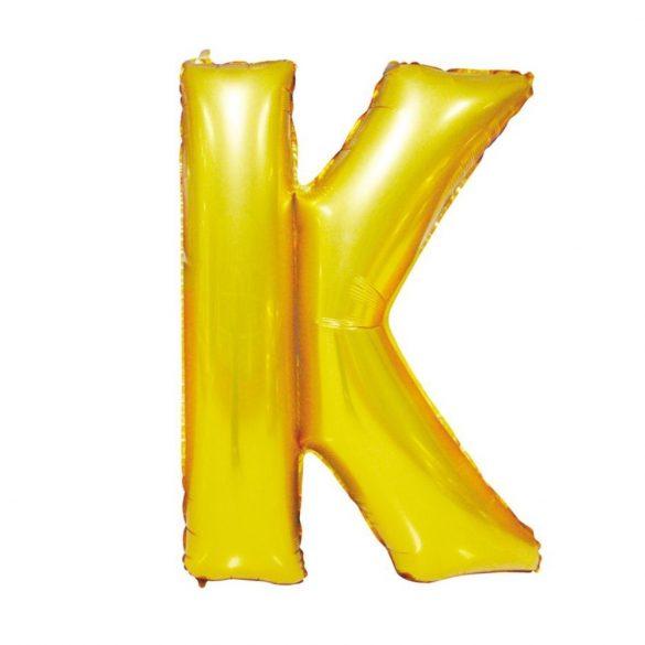 Arany színű, betű alakú fólia lufi, léggömb – K