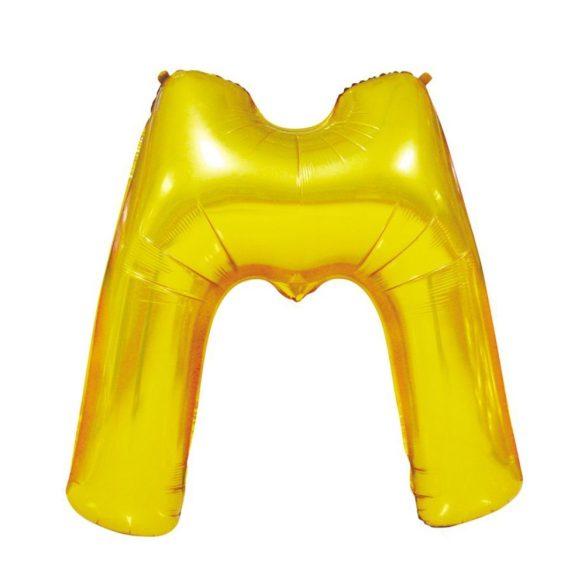 Arany színű, betű alakú fólia lufi, léggömb – M