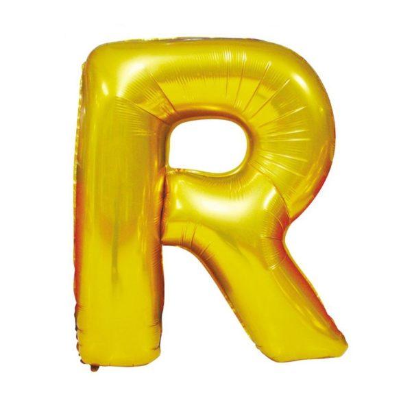 Arany színű, betű alakú fólia lufi, léggömb – R