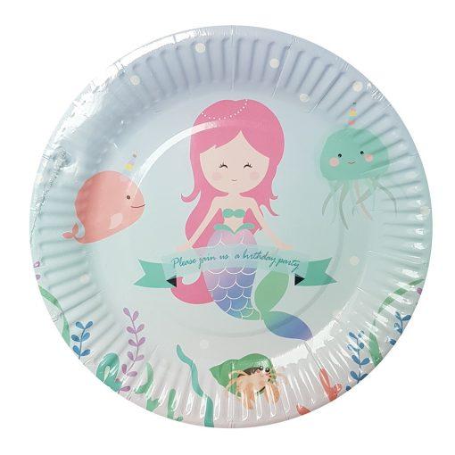 10 darabos papír tányér – Cuki hableány