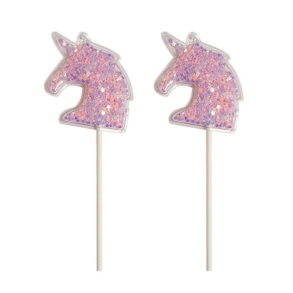 2 darabos torta és sütemény dekoráció – Rózsaszín flitteres unikornis fej