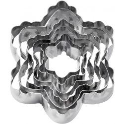 6 darabos, két oldalas fém süteménykiszúró – Virág és hópehely