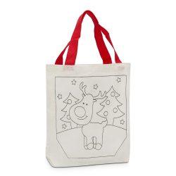 Színezhető karácsonyi szatyor, táska – Mosolygós szarvas
