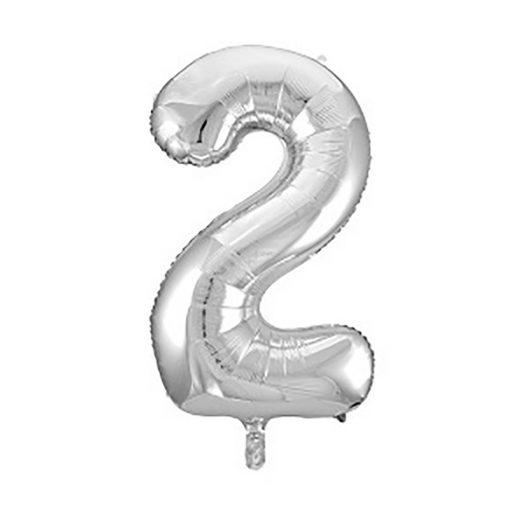 Óriás szám fólia lufi - 2 – Ezüst