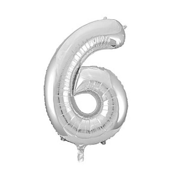 Óriás szám fólia lufi - 6 – Ezüst