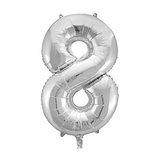 Óriás szám fólia lufi - 8 – Ezüst
