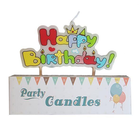 Happy Birthday feliratú gyertya – Bohóccal