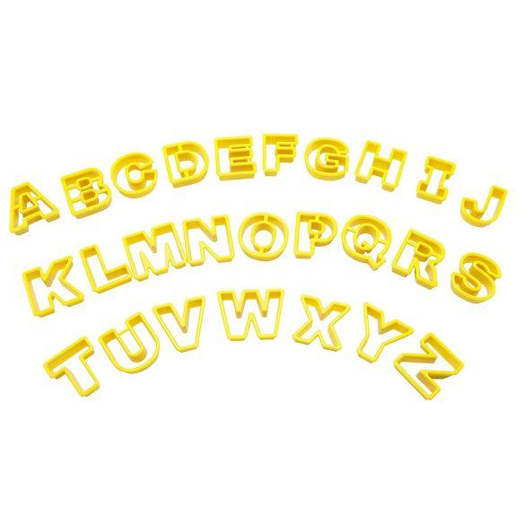 26 darabos műanyag betű kiszúró készlet (Sárga)
