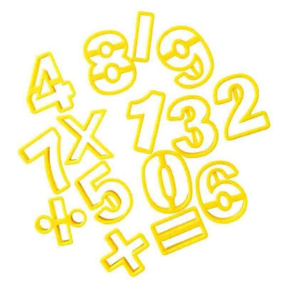 15 darabos műanyag szám kiszúró készlet (Sárga)
